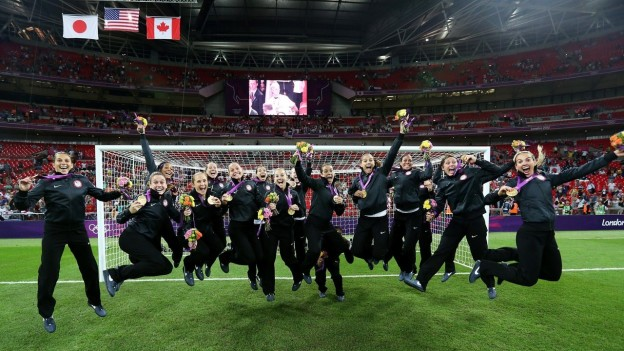 The USWNT celebrates their 2012 London gold medal